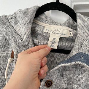 3 for $25 H&M Coton Gray Knit Hoodie Butto Sweater
